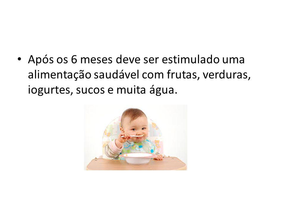 Após os 6 meses deve ser estimulado uma alimentação saudável com frutas, verduras, iogurtes, sucos e muita água.