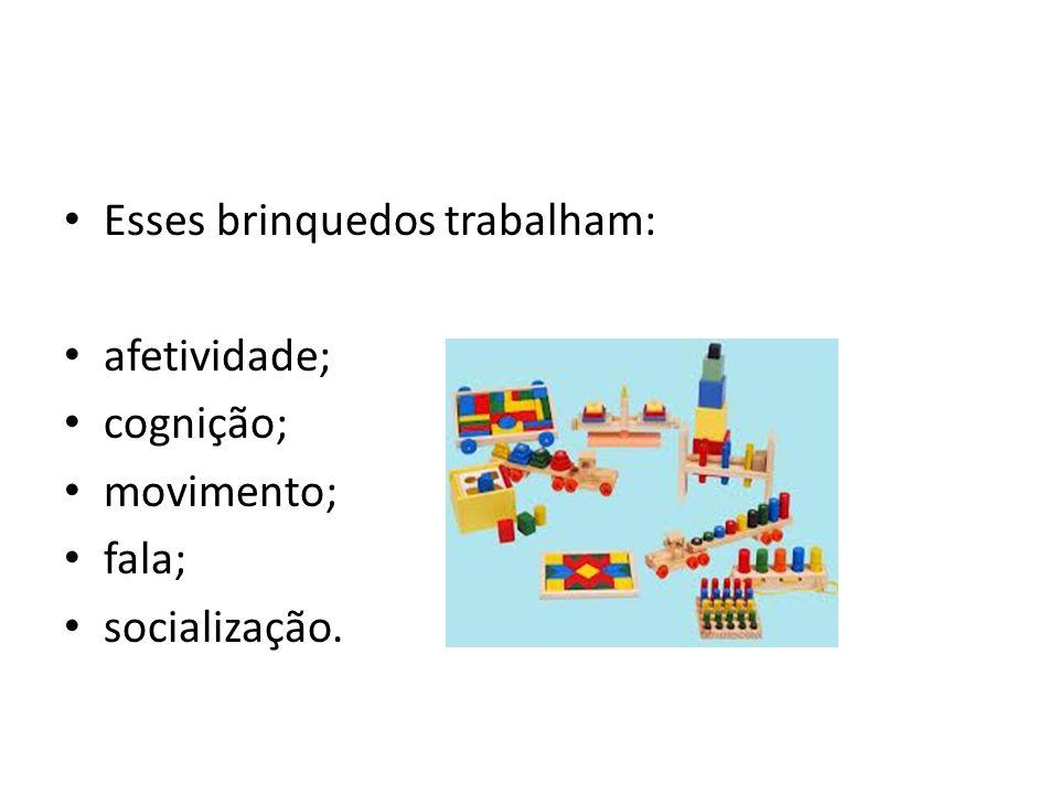 Esses brinquedos trabalham: afetividade; cognição; movimento; fala; socialização.