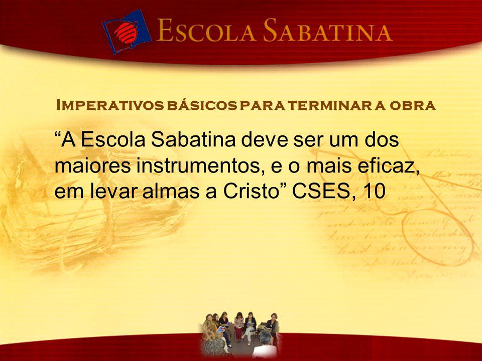 """""""A Escola Sabatina deve ser um dos maiores instrumentos, e o mais eficaz, em levar almas a Cristo"""" CSES, 10 Imperativos básicos para terminar a obra"""