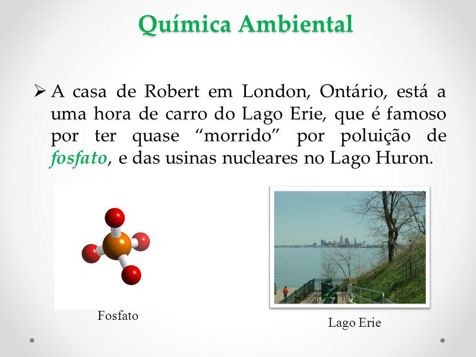 Química Ambiental  A casa de Robert em London, Ontário, está a uma hora de carro do Lago Erie, que é famoso por ter quase morrido por poluição de fosfato, e das usinas nucleares no Lago Huron.