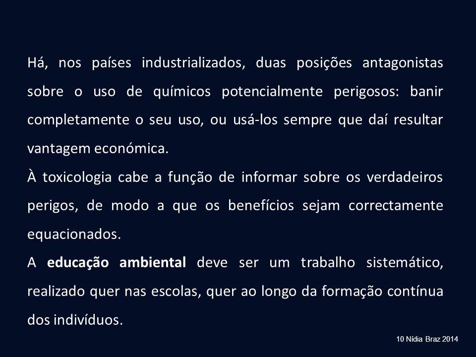 10 Nídia Braz 2014 Há, nos países industrializados, duas posições antagonistas sobre o uso de químicos potencialmente perigosos: banir completamente o