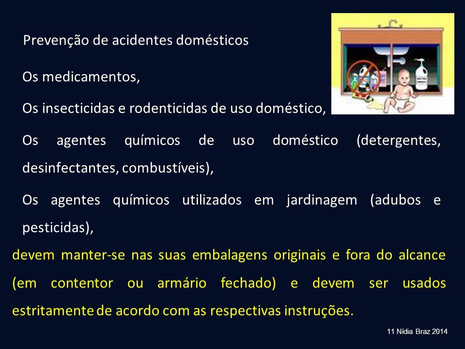 11 Nídia Braz 2014 Prevenção de acidentes domésticos Os medicamentos, Os insecticidas e rodenticidas de uso doméstico, Os agentes químicos de uso domé