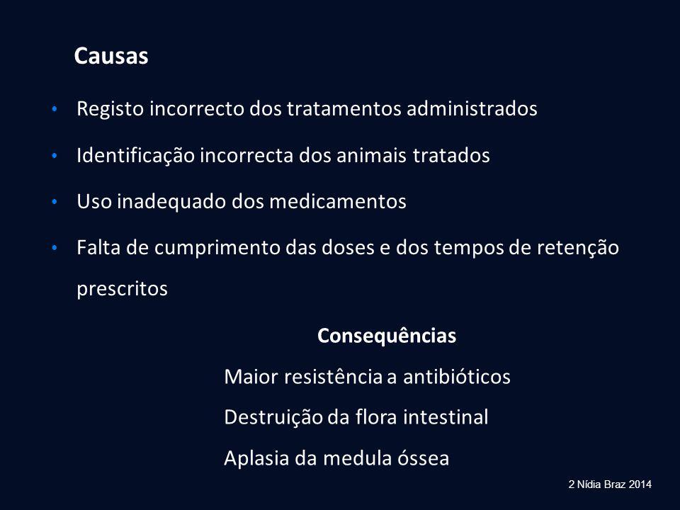 2 Nídia Braz 2014 Causas Registo incorrecto dos tratamentos administrados Identificação incorrecta dos animais tratados Uso inadequado dos medicamento