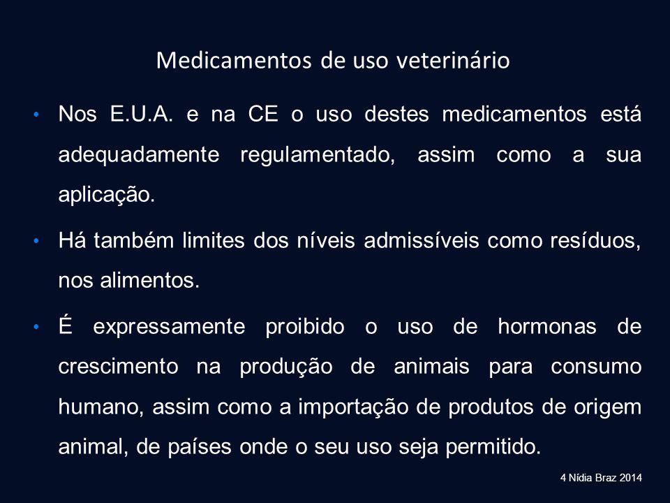 4 Nídia Braz 2014 Medicamentos de uso veterinário Nos E.U.A. e na CE o uso destes medicamentos está adequadamente regulamentado, assim como a sua apli
