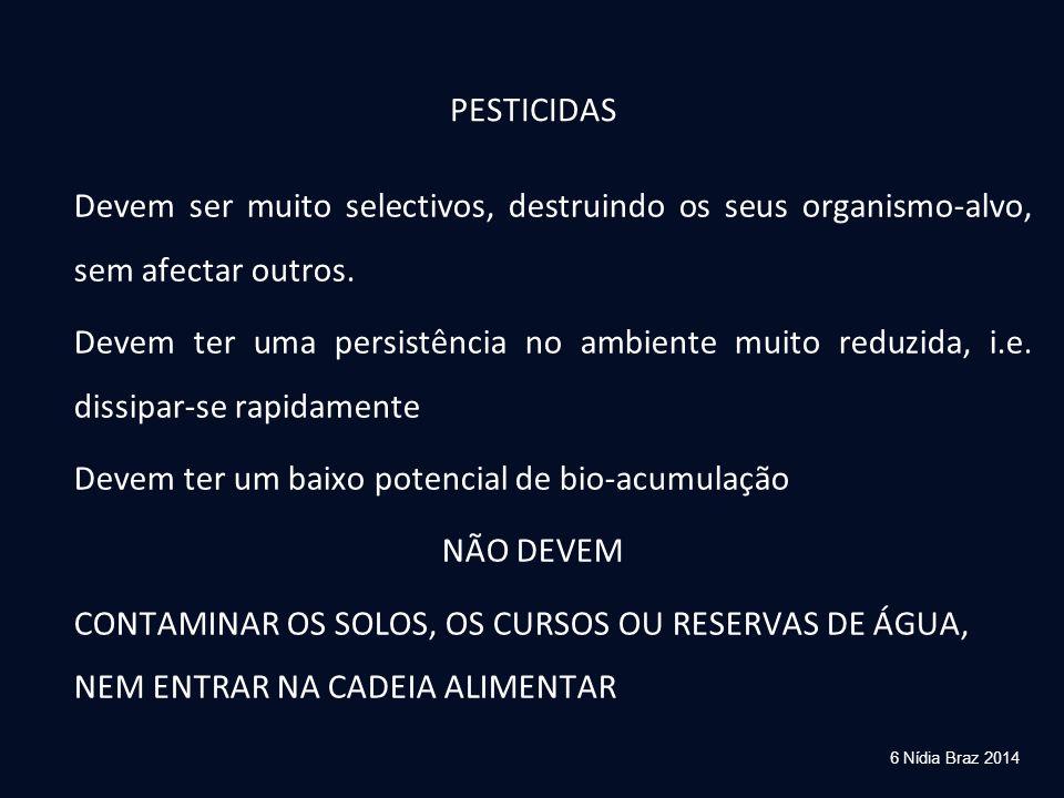 6 Nídia Braz 2014 PESTICIDAS Devem ser muito selectivos, destruindo os seus organismo-alvo, sem afectar outros. Devem ter uma persistência no ambiente