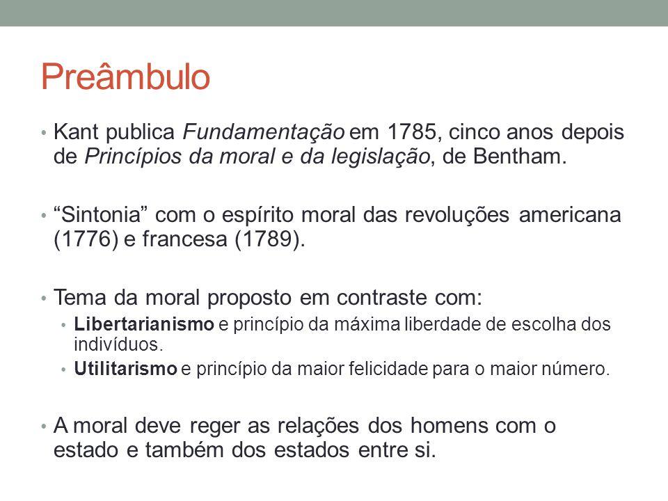 """Preâmbulo Kant publica Fundamentação em 1785, cinco anos depois de Princípios da moral e da legislação, de Bentham. """"Sintonia"""" com o espírito moral da"""