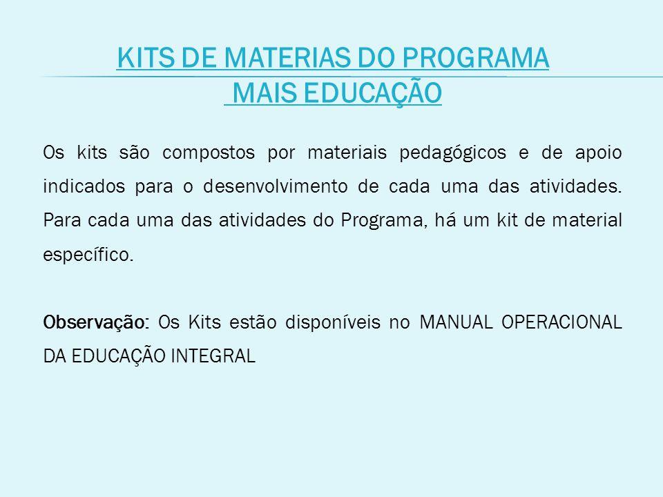 KITS DE MATERIAS DO PROGRAMA MAIS EDUCAÇÃO Os kits são compostos por materiais pedagógicos e de apoio indicados para o desenvolvimento de cada uma das atividades.