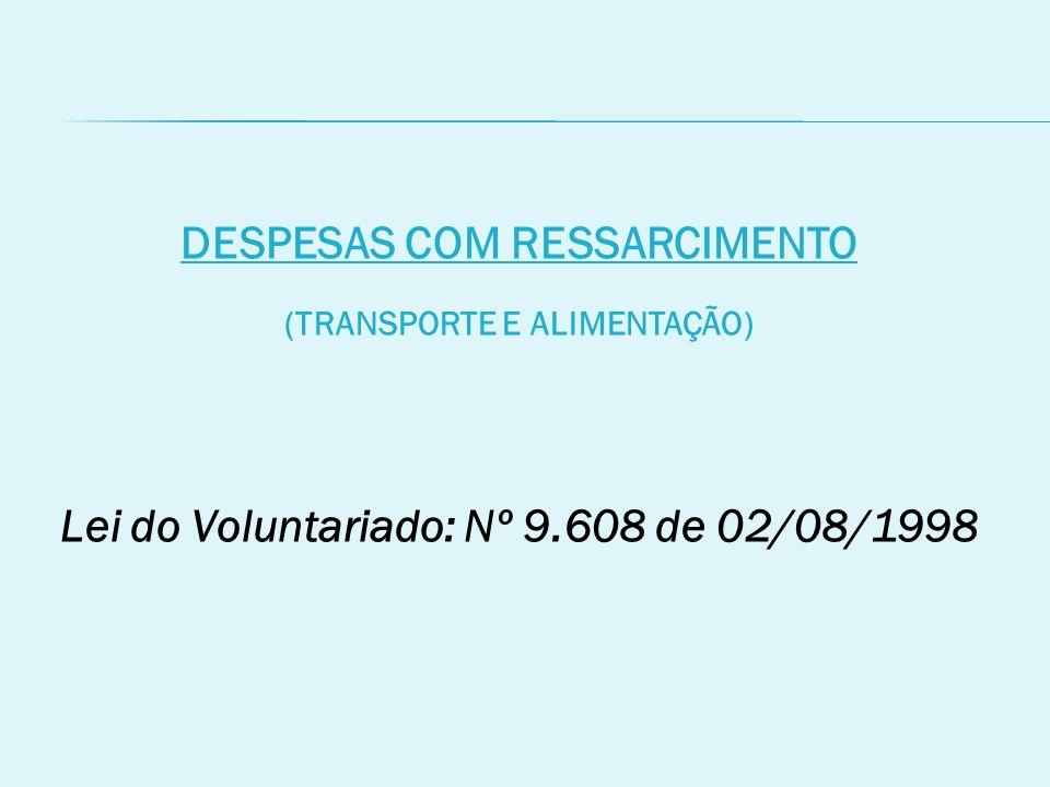 DESPESAS COM RESSARCIMENTO (TRANSPORTE E ALIMENTAÇÃO) Lei do Voluntariado: Nº 9.608 de 02/08/1998