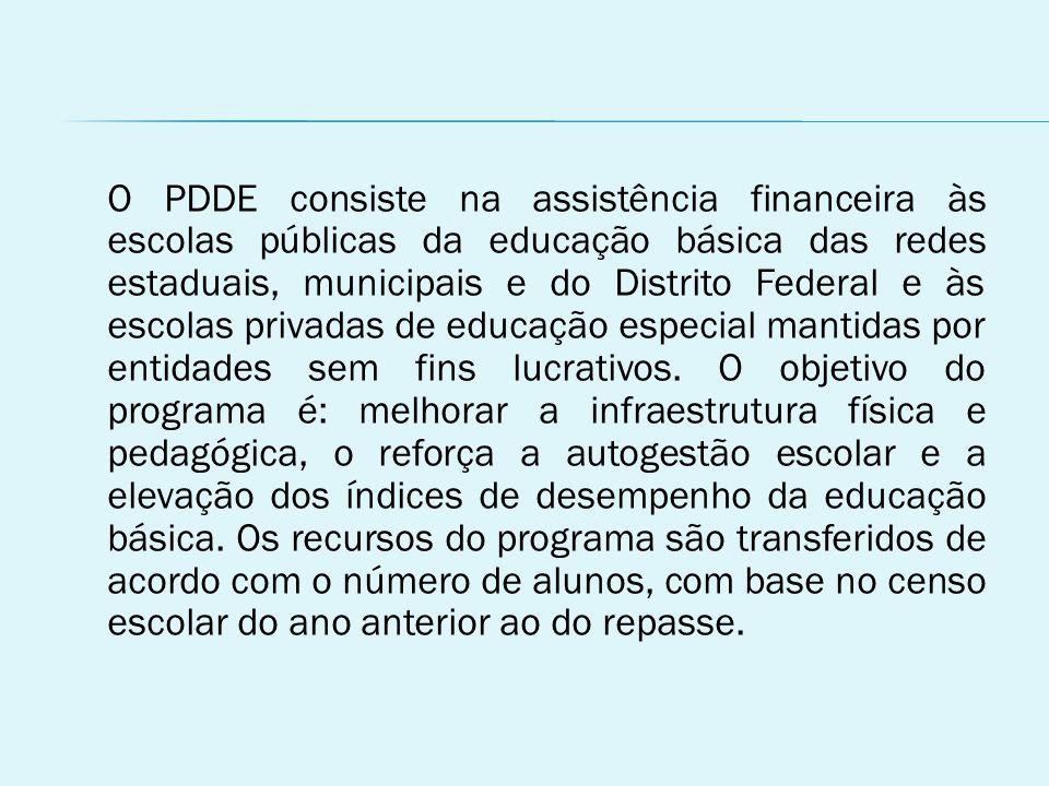 O PDDE consiste na assistência financeira às escolas públicas da educação básica das redes estaduais, municipais e do Distrito Federal e às escolas privadas de educação especial mantidas por entidades sem fins lucrativos.