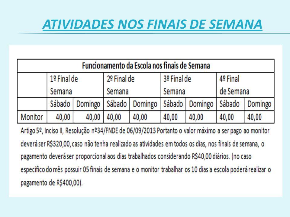 ATIVIDADES NOS FINAIS DE SEMANA