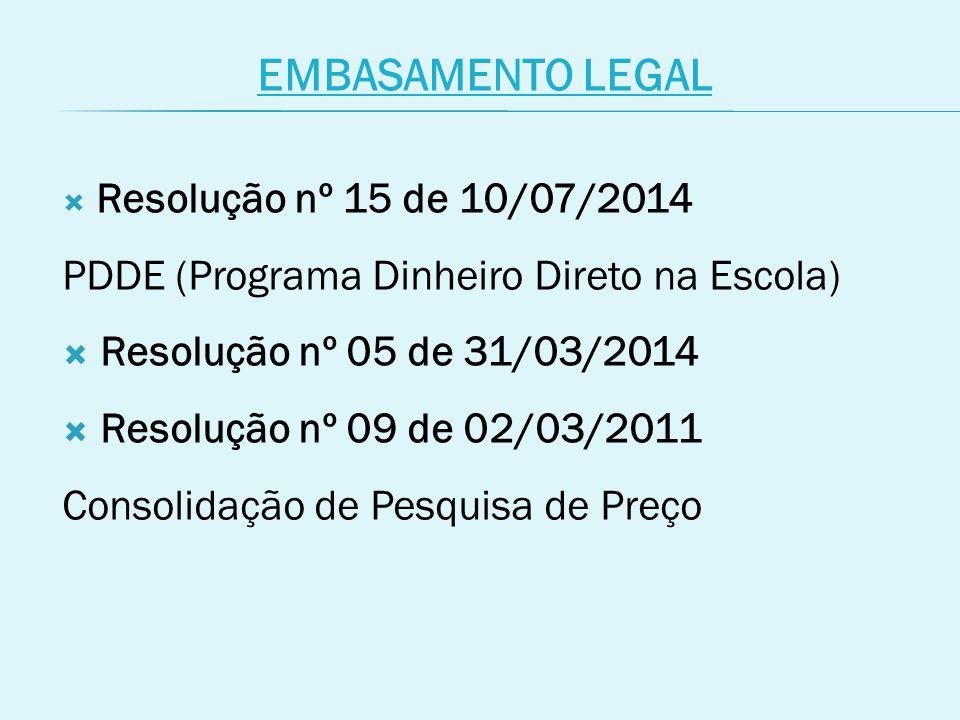 EMBASAMENTO LEGAL  Resolução nº 15 de 10/07/2014 PDDE (Programa Dinheiro Direto na Escola)  Resolução nº 05 de 31/03/2014  Resolução nº 09 de 02/03/2011 Consolidação de Pesquisa de Preço