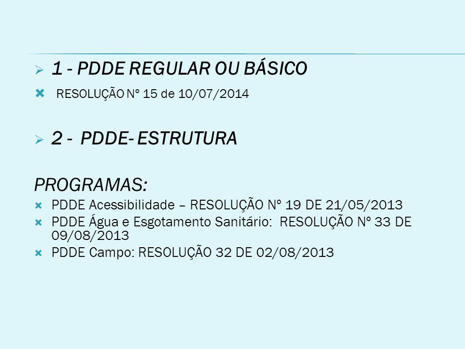  1 - PDDE REGULAR OU BÁSICO  RESOLUÇÃO Nº 15 de 10/07/2014  2 -PDDE- ESTRUTURA PROGRAMAS:  PDDE Acessibilidade – RESOLUÇÃO Nº 19 DE 21/05/2013  PDDE Água e Esgotamento Sanitário: RESOLUÇÃO Nº 33 DE 09/08/2013  PDDE Campo: RESOLUÇÃO 32 DE 02/08/2013