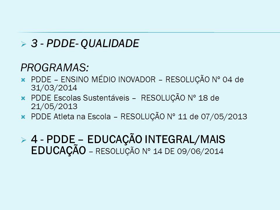  3 - PDDE- QUALIDADE PROGRAMAS:  PDDE – ENSINO MÉDIO INOVADOR – RESOLUÇÃO Nº 04 de 31/03/2014  PDDE Escolas Sustentáveis – RESOLUÇÃO Nº 18 de 21/05/2013  PDDE Atleta na Escola – RESOLUÇÃO Nº 11 de 07/05/2013  4 - PDDE – EDUCAÇÃO INTEGRAL/MAIS EDUCAÇÃO – RESOLUÇÃO Nº 14 DE 09/06/2014
