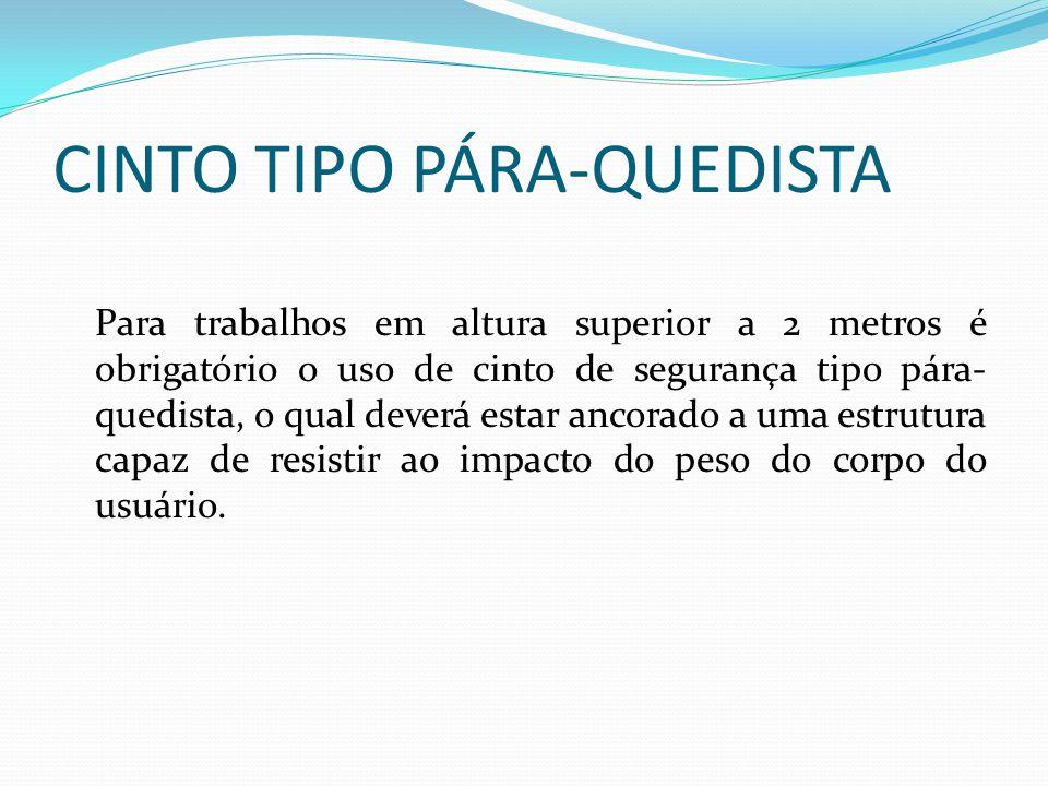 CINTO TIPO ABDOMINAL Somente deve ser utilizado em serviços de eletricidade e em situações em que funcione como limitador de movimentação.