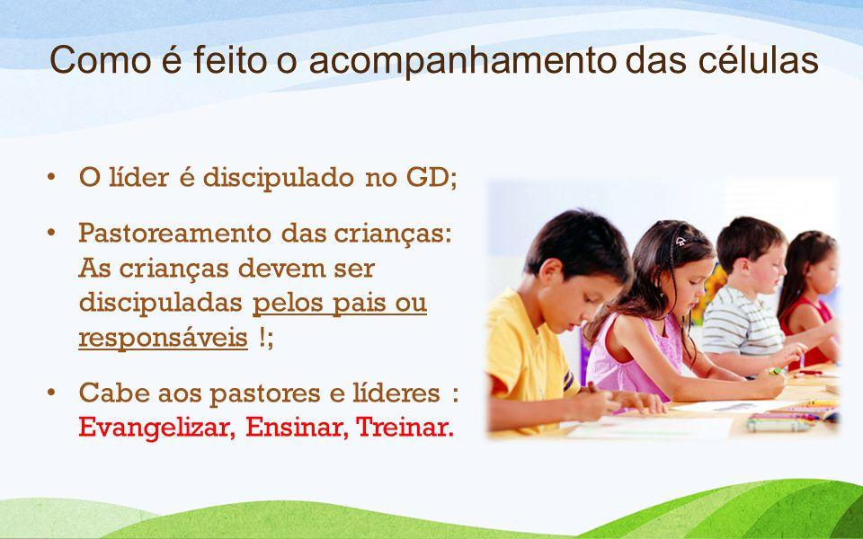 Como é feito o acompanhamento das células O líder é discipulado no GD; Pastoreamento das crianças: As crianças devem ser discipuladas pelos pais ou re
