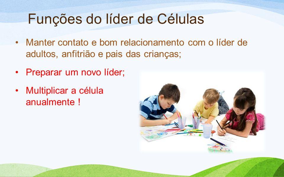 Funções do líder de Células Manter contato e bom relacionamento com o líder de adultos, anfitrião e pais das crianças; Preparar um novo líder; Multipl