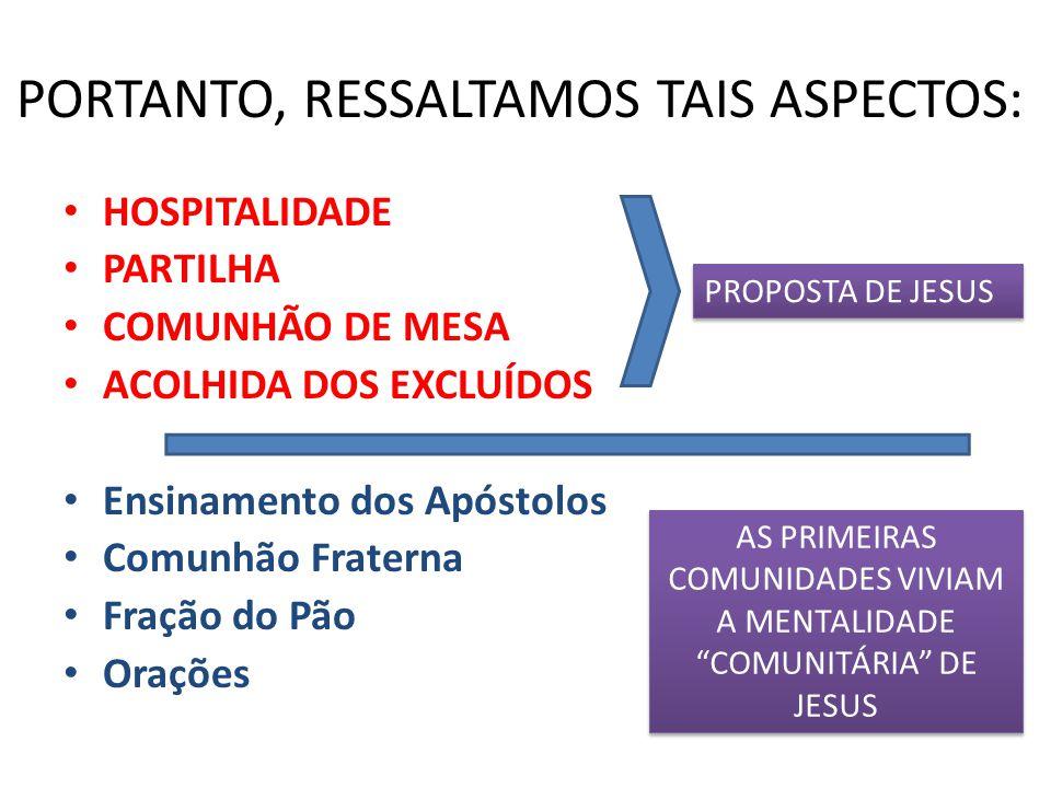 PORTANTO, RESSALTAMOS TAIS ASPECTOS: HOSPITALIDADE PARTILHA COMUNHÃO DE MESA ACOLHIDA DOS EXCLUÍDOS Ensinamento dos Apóstolos Comunhão Fraterna Fração