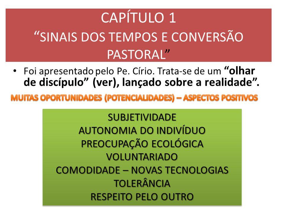 """CAPÍTULO 1 """" SINAIS DOS TEMPOS E CONVERSÃO PASTORAL"""" Foi apresentado pelo Pe. Círio. Trata-se de um """"olhar de discípulo"""" (ver), lançado sobre a realid"""