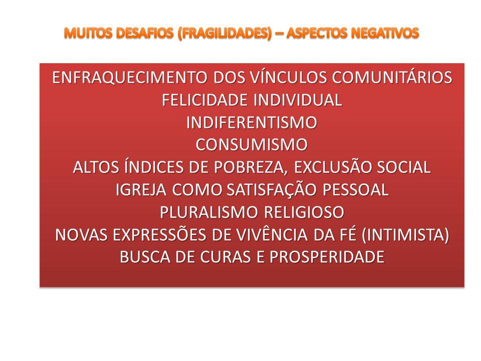 ENFRAQUECIMENTO DOS VÍNCULOS COMUNITÁRIOS FELICIDADE INDIVIDUAL INDIFERENTISMOCONSUMISMO ALTOS ÍNDICES DE POBREZA, EXCLUSÃO SOCIAL IGREJA COMO SATISFA