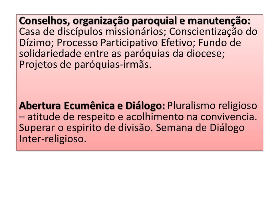 Conselhos, organização paroquial e manutenção: Conselhos, organização paroquial e manutenção: Casa de discípulos missionários; Conscientização do Dízi