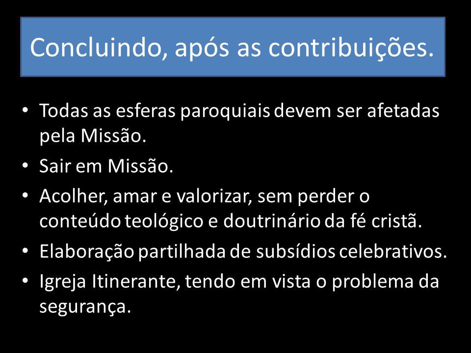Concluindo, após as contribuições. Todas as esferas paroquiais devem ser afetadas pela Missão. Sair em Missão. Acolher, amar e valorizar, sem perder o