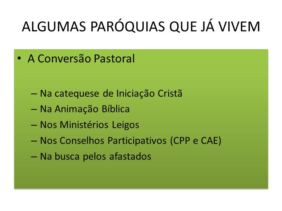 ALGUMAS PARÓQUIAS QUE JÁ VIVEM A Conversão Pastoral – Na catequese de Iniciação Cristã – Na Animação Bíblica – Nos Ministérios Leigos – Nos Conselhos