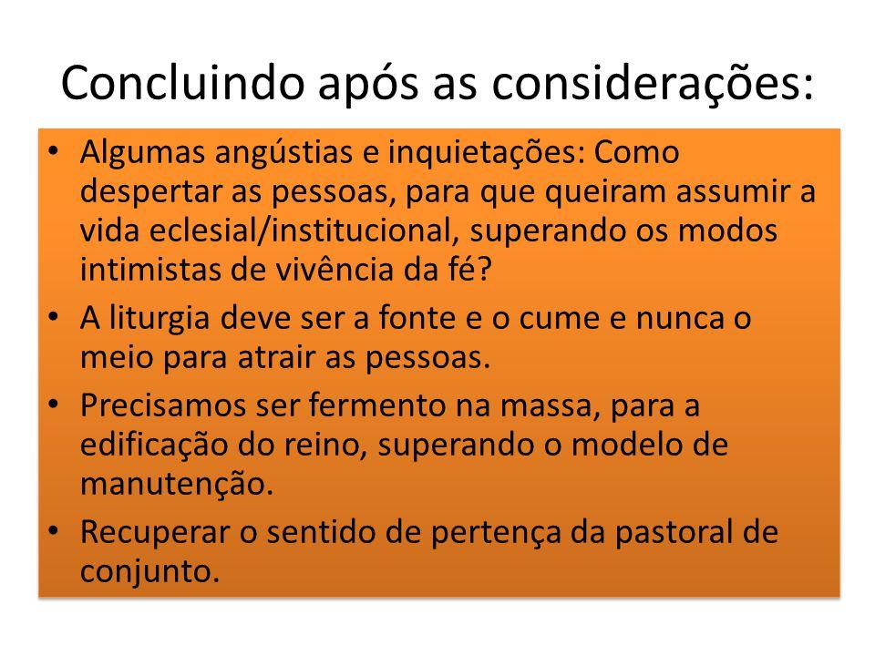 Concluindo após as considerações: Algumas angústias e inquietações: Como despertar as pessoas, para que queiram assumir a vida eclesial/institucional,
