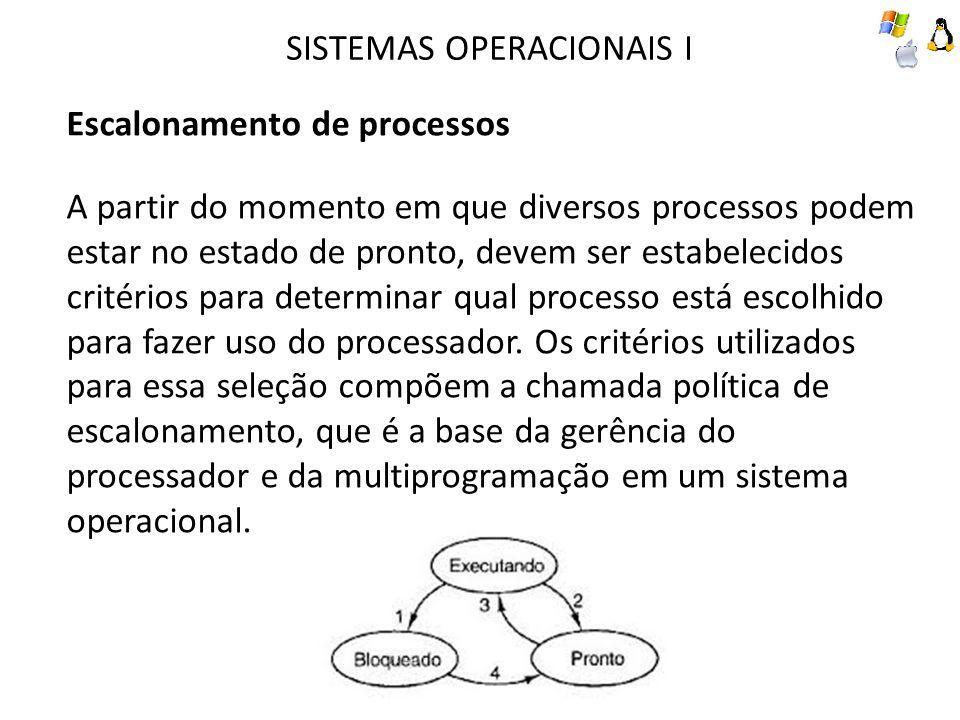 SISTEMAS OPERACIONAIS I Escalonamento de processos A partir do momento em que diversos processos podem estar no estado de pronto, devem ser estabelecidos critérios para determinar qual processo está escolhido para fazer uso do processador.