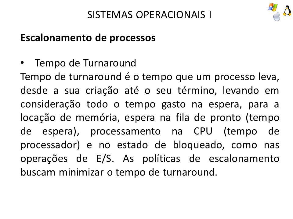 SISTEMAS OPERACIONAIS I Escalonamento de processos Tempo de Turnaround Tempo de turnaround é o tempo que um processo leva, desde a sua criação até o seu término, levando em consideração todo o tempo gasto na espera, para a locação de memória, espera na fila de pronto (tempo de espera), processamento na CPU (tempo de processador) e no estado de bloqueado, como nas operações de E/S.
