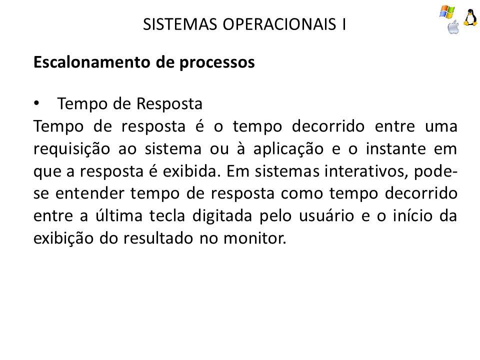 SISTEMAS OPERACIONAIS I Escalonamento de processos Tempo de Resposta Tempo de resposta é o tempo decorrido entre uma requisição ao sistema ou à aplicação e o instante em que a resposta é exibida.