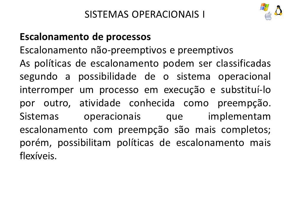 SISTEMAS OPERACIONAIS I Escalonamento de processos Escalonamento não-preemptivos e preemptivos As políticas de escalonamento podem ser classificadas s