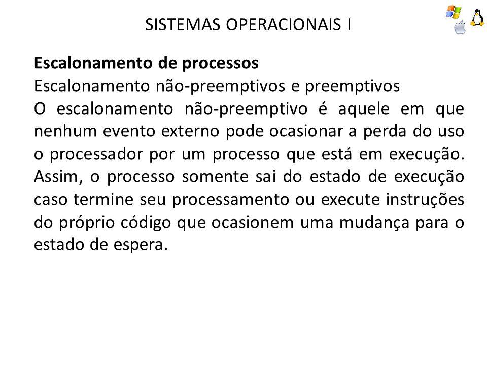 SISTEMAS OPERACIONAIS I Escalonamento de processos Escalonamento não-preemptivos e preemptivos O escalonamento não-preemptivo é aquele em que nenhum evento externo pode ocasionar a perda do uso o processador por um processo que está em execução.