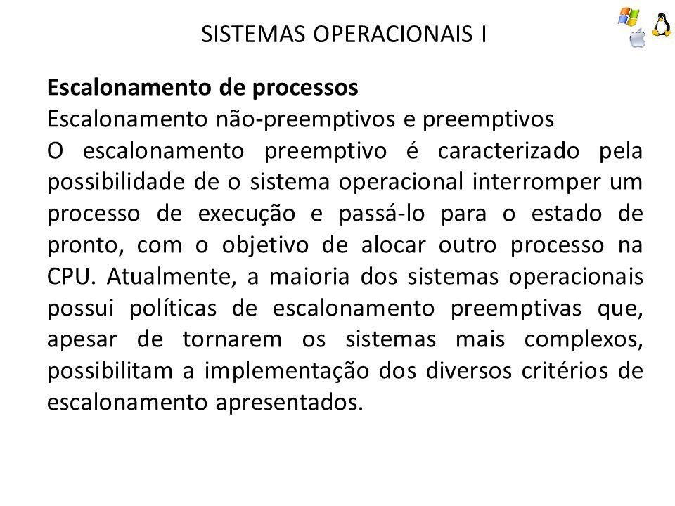SISTEMAS OPERACIONAIS I Escalonamento de processos Escalonamento não-preemptivos e preemptivos O escalonamento preemptivo é caracterizado pela possibi