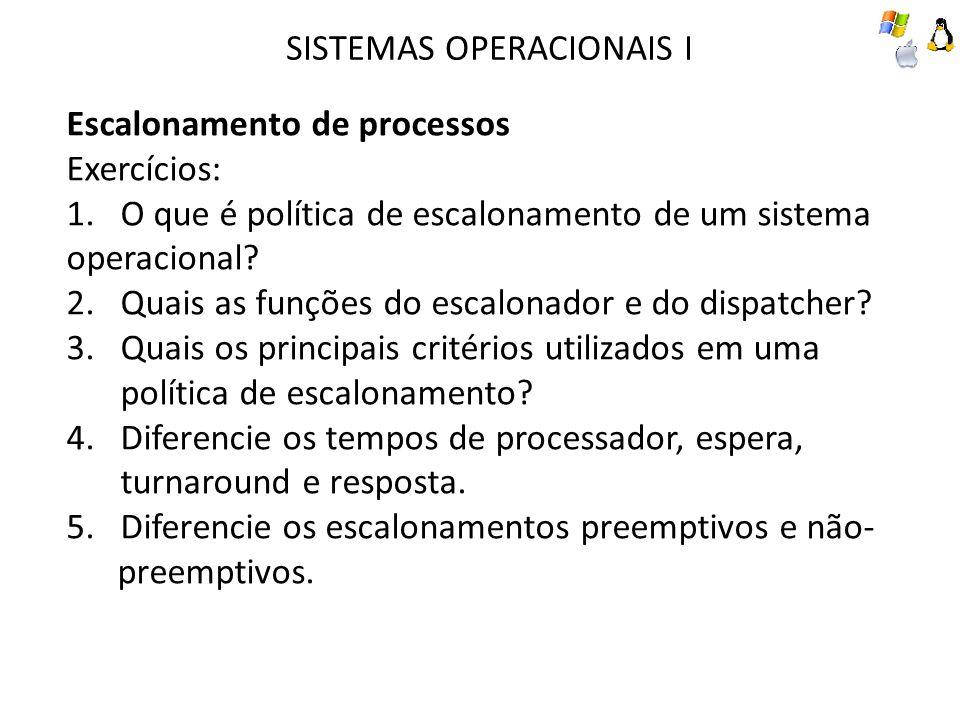 SISTEMAS OPERACIONAIS I Escalonamento de processos Exercícios: 1.O que é política de escalonamento de um sistema operacional? 2.Quais as funções do es
