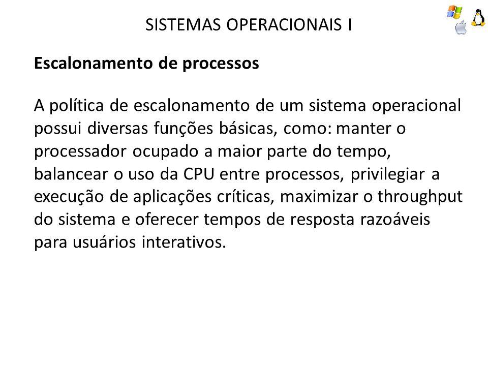 SISTEMAS OPERACIONAIS I Escalonamento de processos A política de escalonamento de um sistema operacional possui diversas funções básicas, como: manter