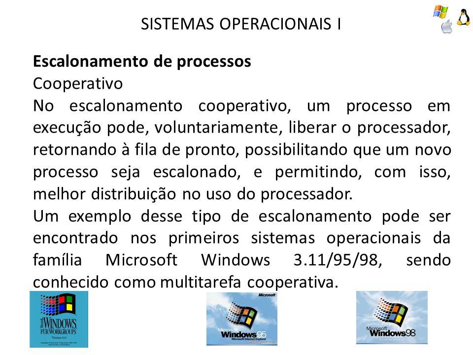 SISTEMAS OPERACIONAIS I Escalonamento de processos Cooperativo No escalonamento cooperativo, um processo em execução pode, voluntariamente, liberar o