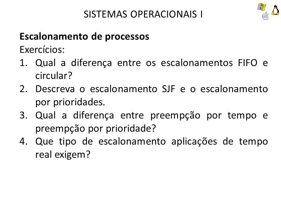 Escalonamento de processos Exercícios: 1.Qual a diferença entre os escalonamentos FIFO e circular? 2.Descreva o escalonamento SJF e o escalonamento po