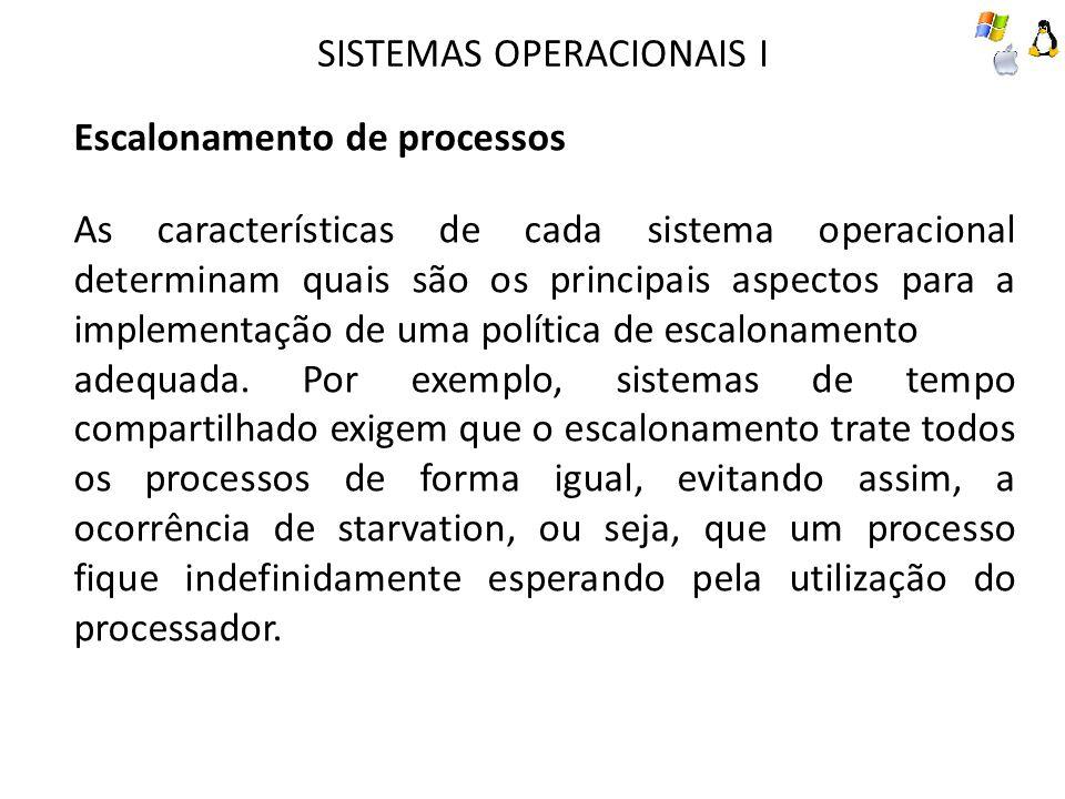 SISTEMAS OPERACIONAIS I Escalonamento de processos As características de cada sistema operacional determinam quais são os principais aspectos para a implementação de uma política de escalonamento adequada.