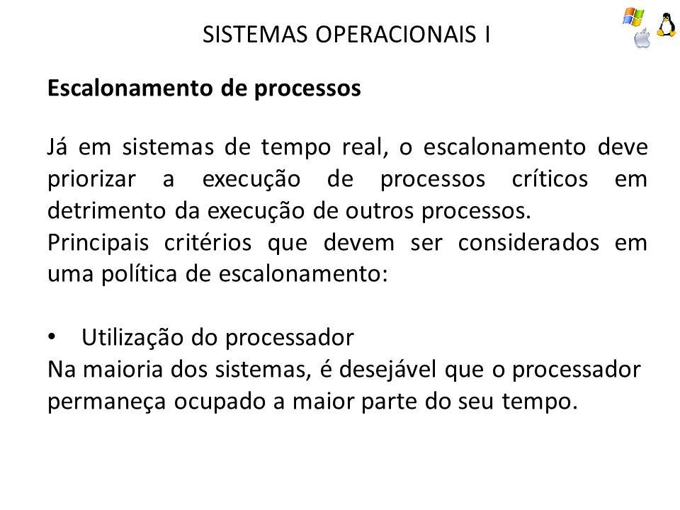 SISTEMAS OPERACIONAIS I Escalonamento de processos Já em sistemas de tempo real, o escalonamento deve priorizar a execução de processos críticos em detrimento da execução de outros processos.
