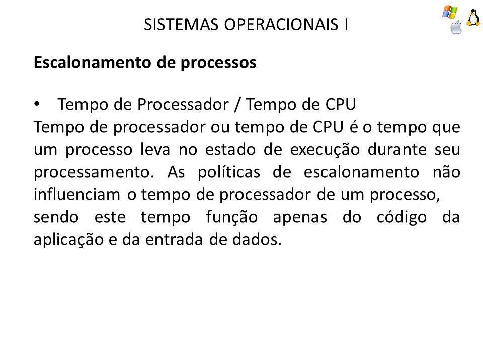SISTEMAS OPERACIONAIS I Escalonamento de processos Tempo de Processador / Tempo de CPU Tempo de processador ou tempo de CPU é o tempo que um processo leva no estado de execução durante seu processamento.