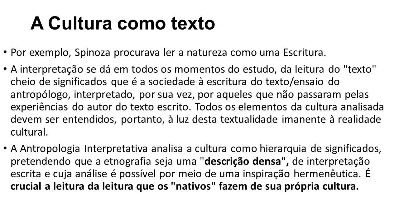 A Cultura como texto Por exemplo, Spinoza procurava ler a natureza como uma Escritura. A interpretação se dá em todos os momentos do estudo, da leitur