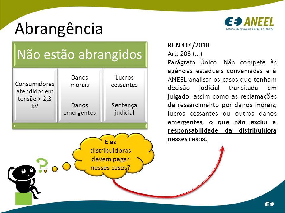 Abrangência Não estão abrangidos Consumidores atendidos em tensão > 2,3 kV Danos morais Danos emergentes Lucros cessantes Sentença judicial REN 414/20