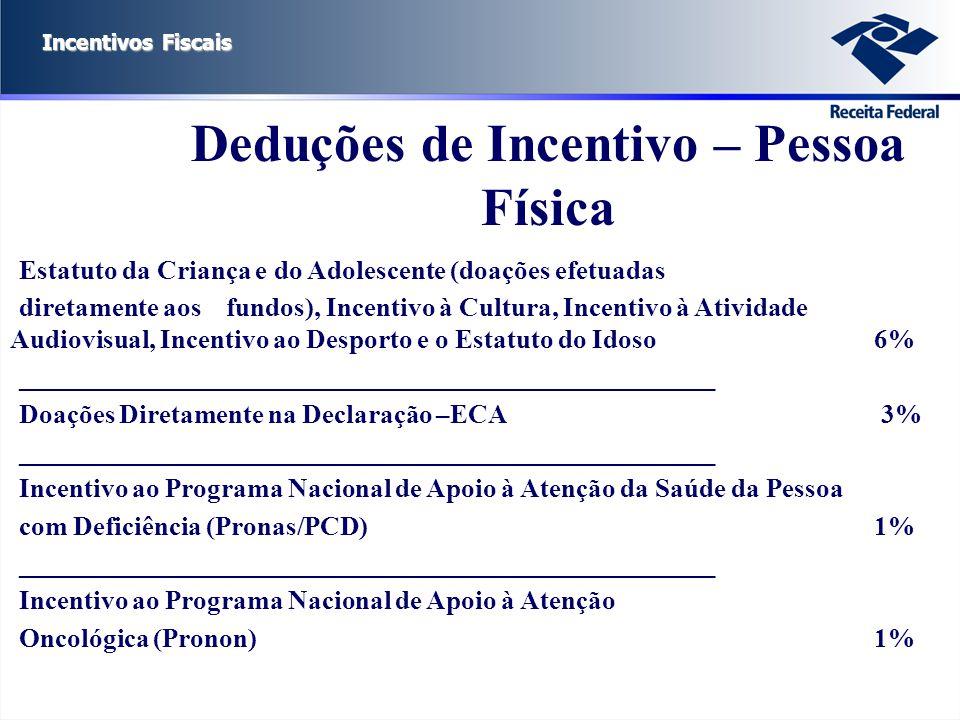 Incentivos Fiscais Estatuto da Criança e do Adolescente (doações efetuadas diretamente aos fundos), Incentivo à Cultura, Incentivo à Atividade Audiovi