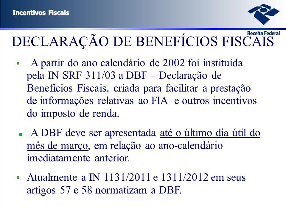 Incentivos Fiscais DECLARAÇÃO DE BENEFÍCIOS FISCAIS A partir do ano calendário de 2002 foi instituída pela IN SRF 311/03 a DBF – Declaração de Benefíc