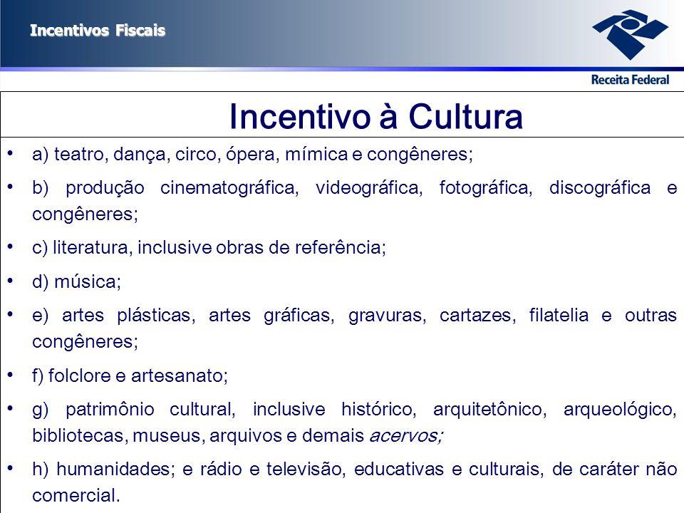 Incentivos Fiscais Incentivo à Cultura a) teatro, dança, circo, ópera, mímica e congêneres; b) produção cinematográfica, videográfica, fotográfica, di