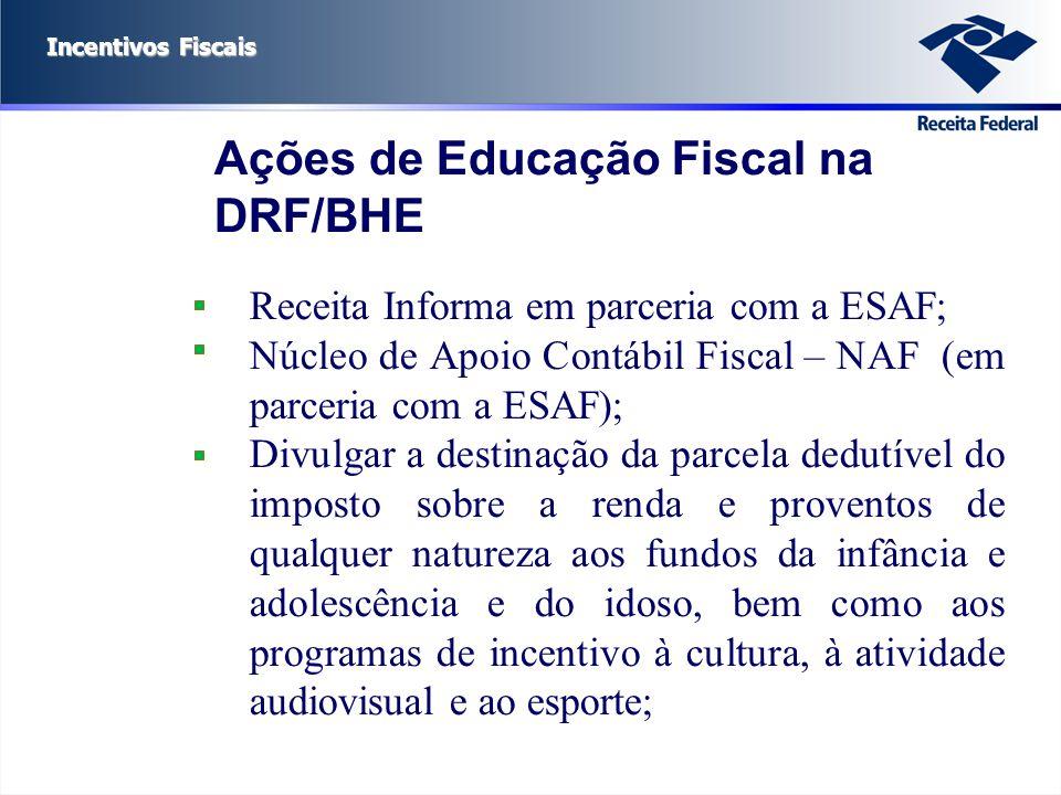 Incentivos Fiscais Receita Informa em parceria com a ESAF; Núcleo de Apoio Contábil Fiscal – NAF (em parceria com a ESAF); Divulgar a destinação da pa