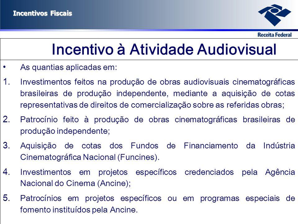 Incentivos Fiscais Incentivo à Atividade Audiovisual As quantias aplicadas em: 1. Investimentos feitos na produção de obras audiovisuais cinematográfi