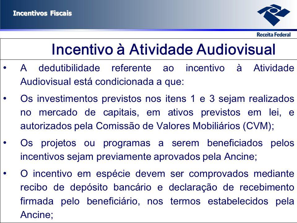 Incentivos Fiscais Incentivo à Atividade Audiovisual A dedutibilidade referente ao incentivo à Atividade Audiovisual está condicionada a que: Os inves