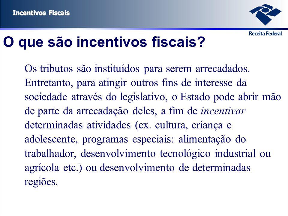 Incentivos Fiscais O que são incentivos fiscais? Os tributos são instituídos para serem arrecadados. Entretanto, para atingir outros fins de interesse