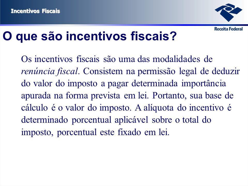 Incentivos Fiscais O que são incentivos fiscais? Os incentivos fiscais são uma das modalidades de renúncia fiscal. Consistem na permissão legal de ded